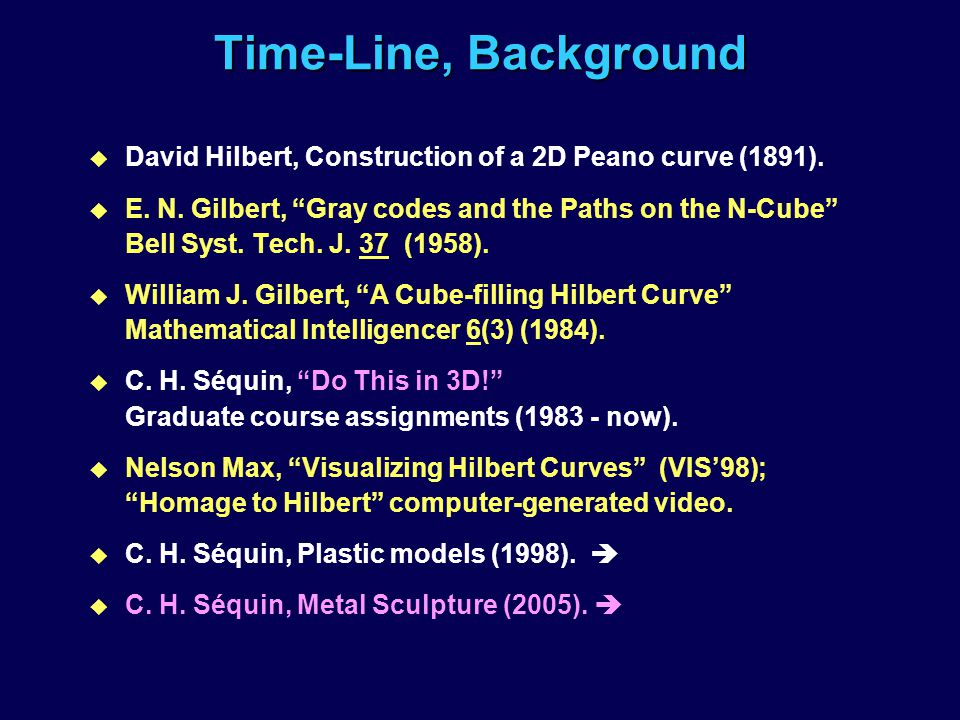 ISAMA 2004 Time-Line, Background. David Hilbert, Construction of a 2D Peano curve (1891).