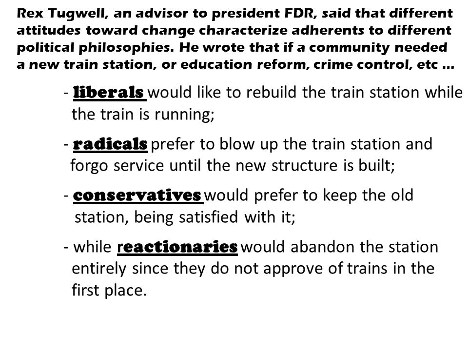- liberals would like to rebuild the train station while
