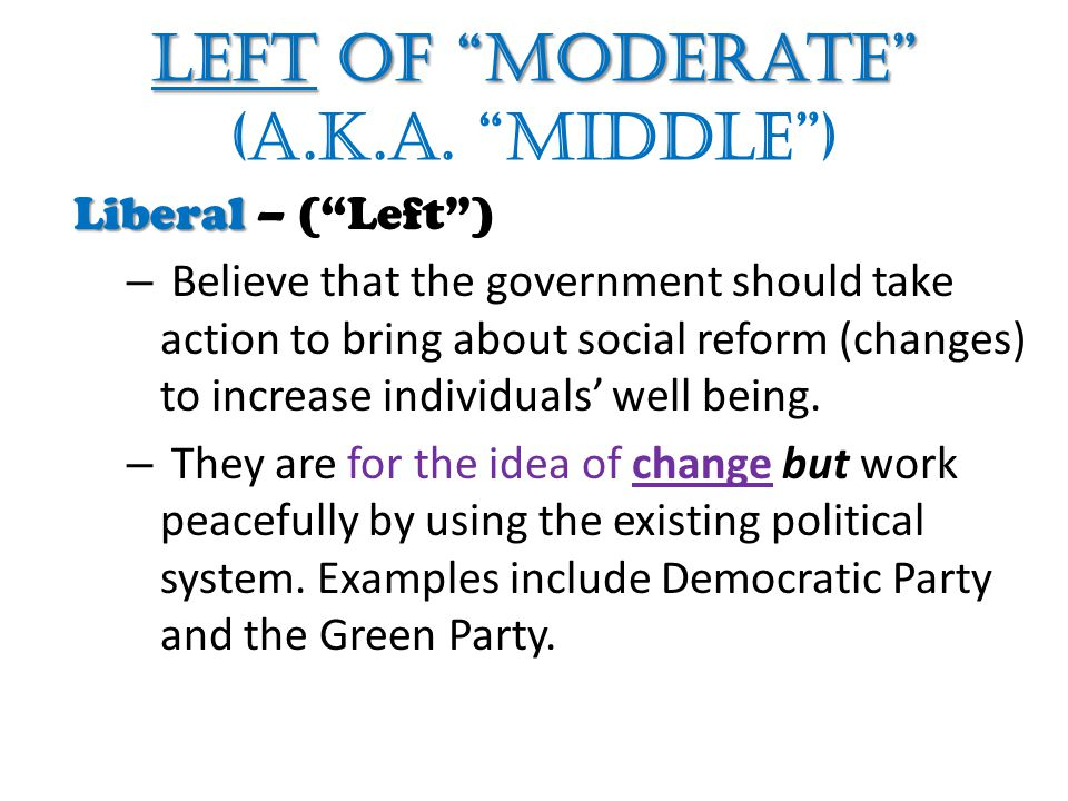 Left of Moderate (a.k.a. middle )
