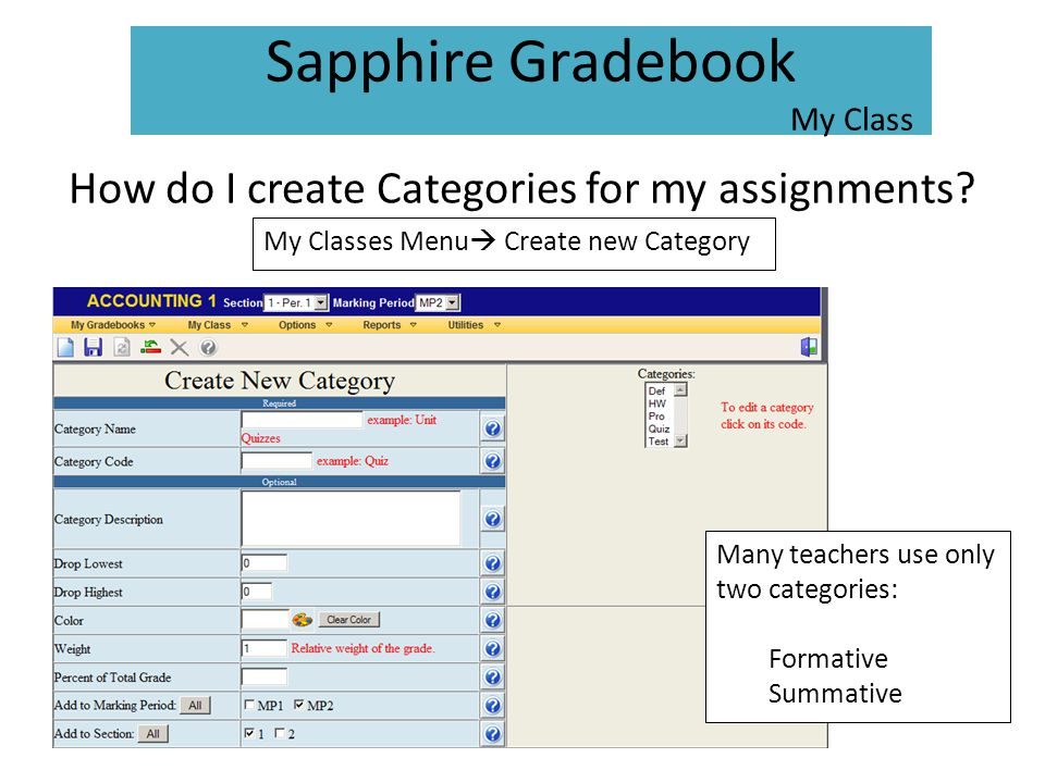 How do I create Categories for my assignments