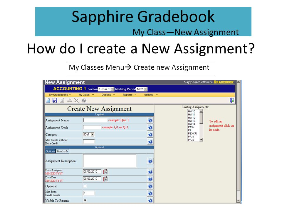 How do I create a New Assignment