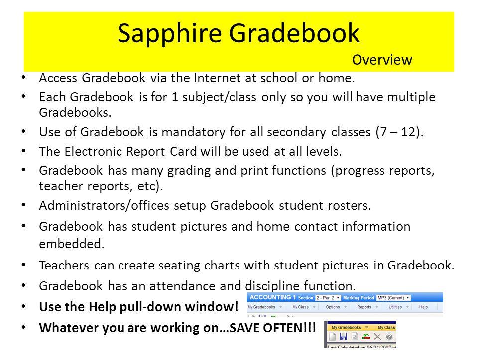 Sapphire Gradebook Overview