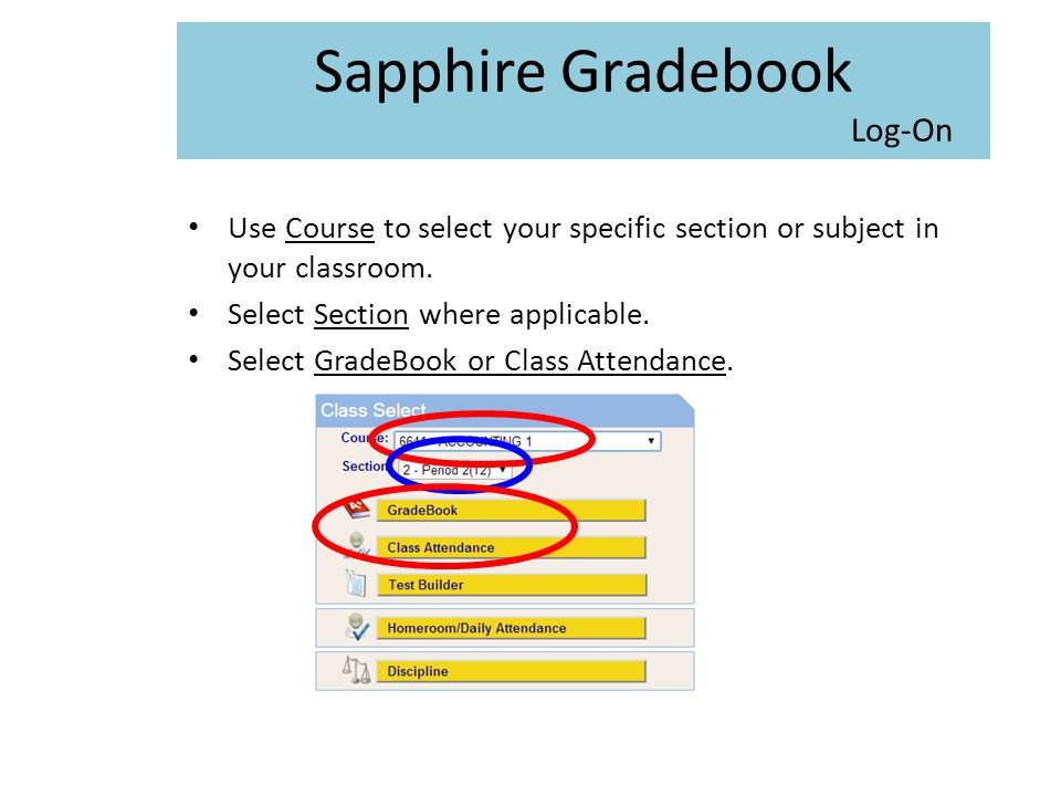 Sapphire Gradebook Log-On