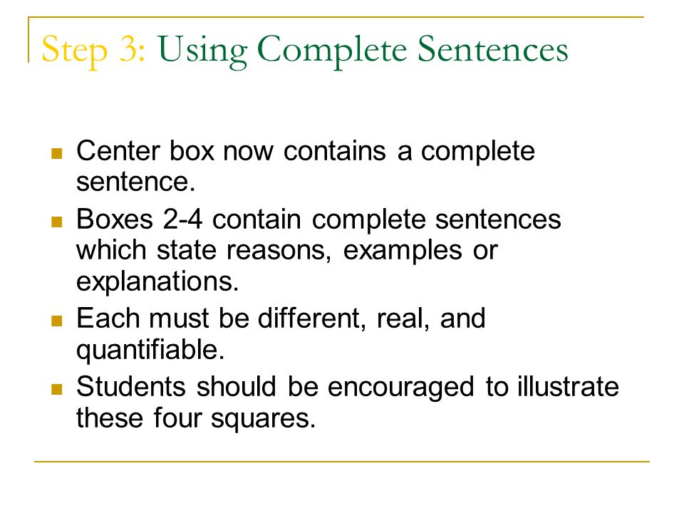 Step 3: Using Complete Sentences