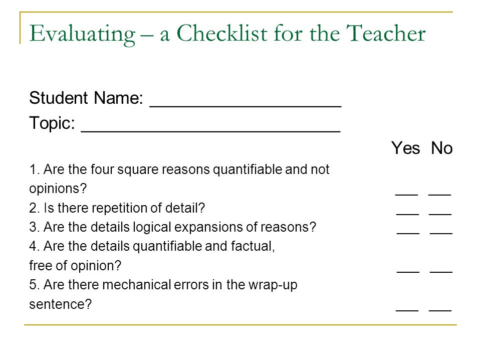 Evaluating – a Checklist for the Teacher