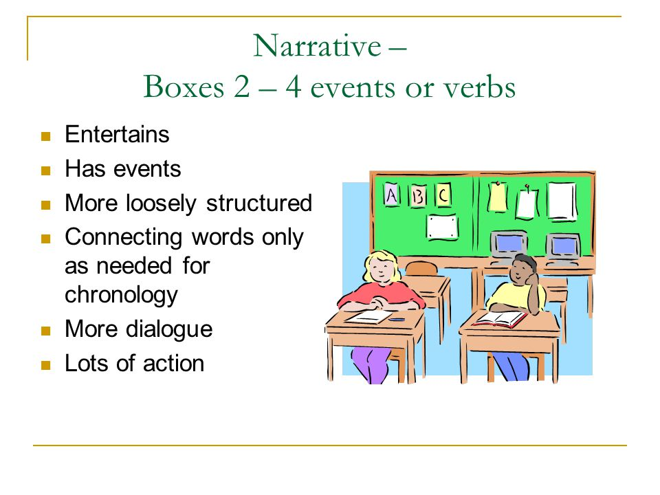Narrative – Boxes 2 – 4 events or verbs