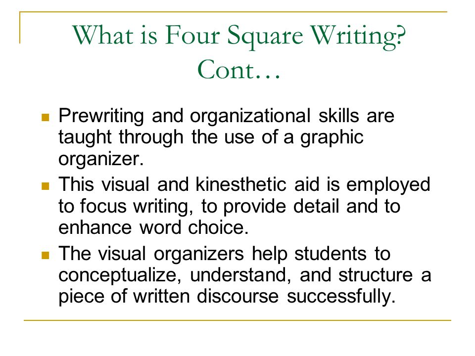 What is Four Square Writing Cont…