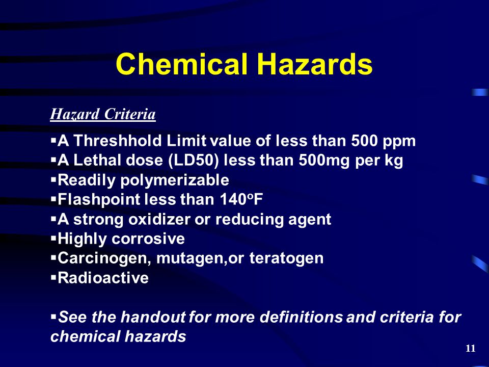 Chemical Hazards Hazard Criteria