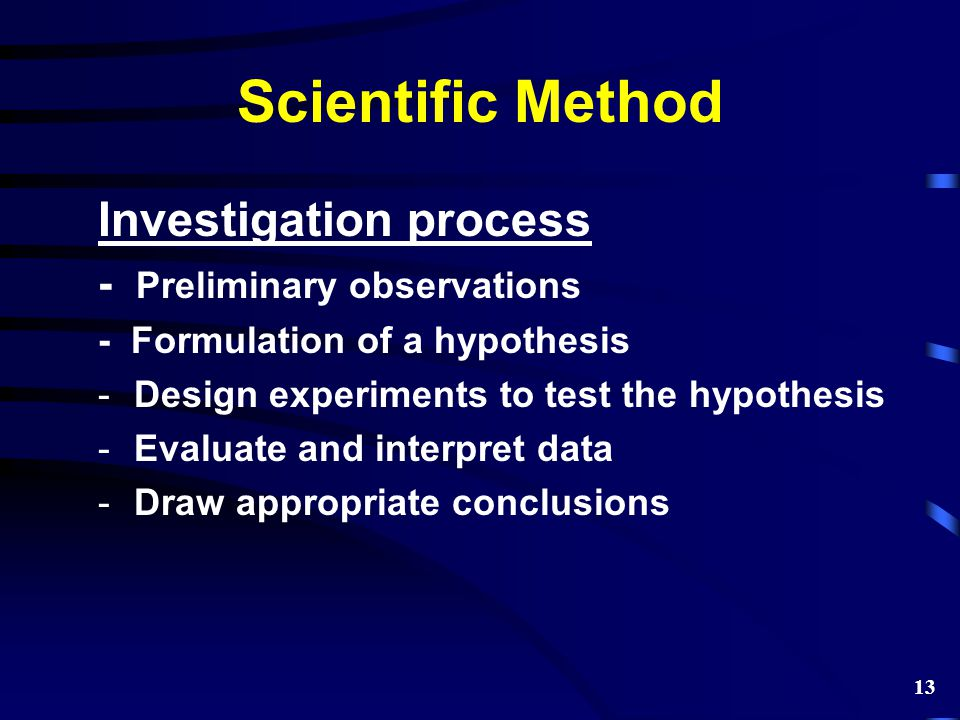Scientific Method Investigation process - Preliminary observations