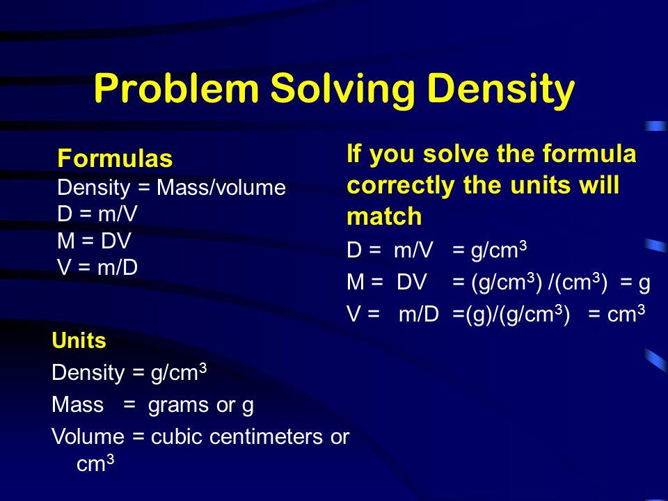 Problem Solving Density
