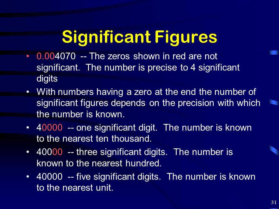 Significant Figures 0.004070 -- The zeros shown in red are not significant. The number is precise to 4 significant digits.