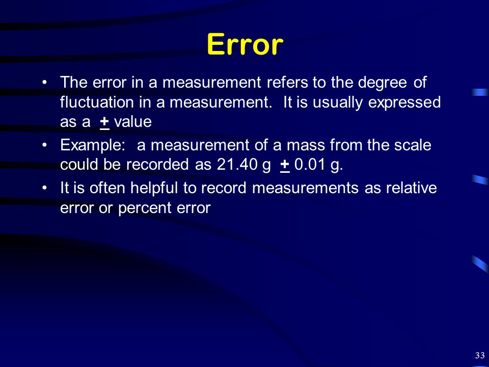 Error The error in a measurement refers to the degree of fluctuation in a measurement. It is usually expressed as a + value.