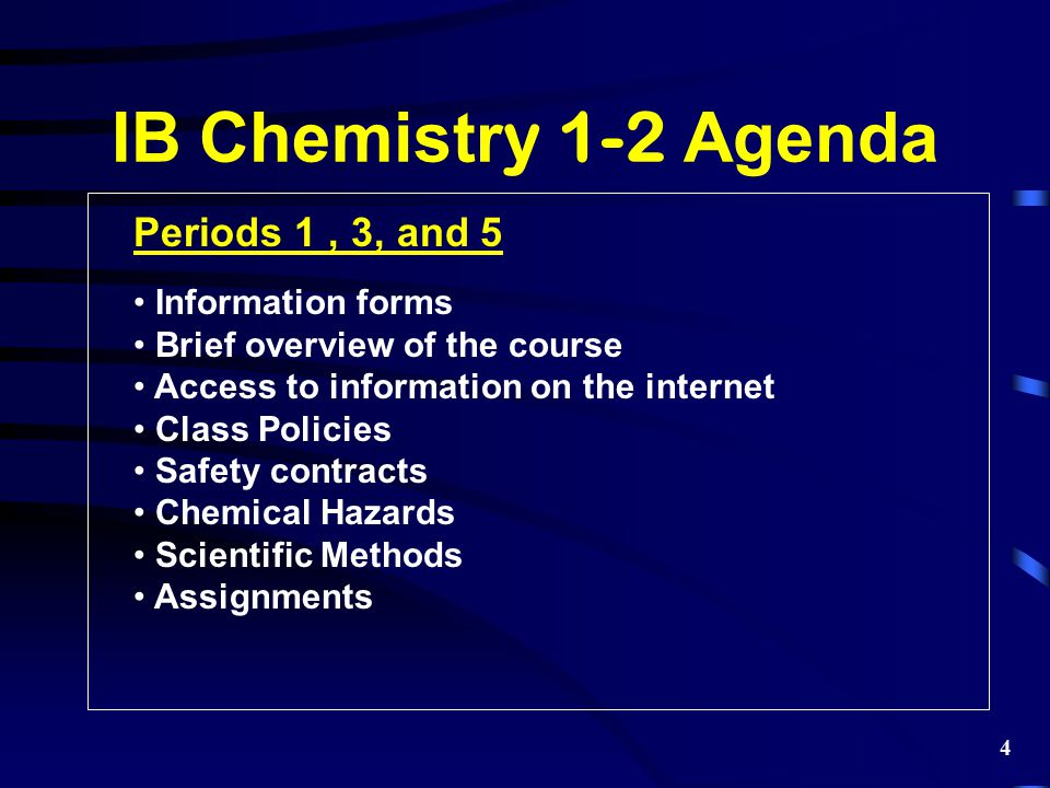 IB Chemistry 1-2 Agenda Periods 1 , 3, and 5 Information forms