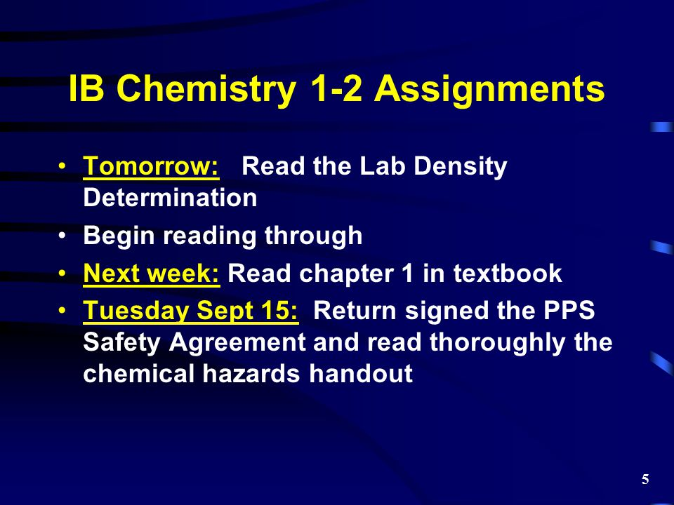 IB Chemistry 1-2 Assignments