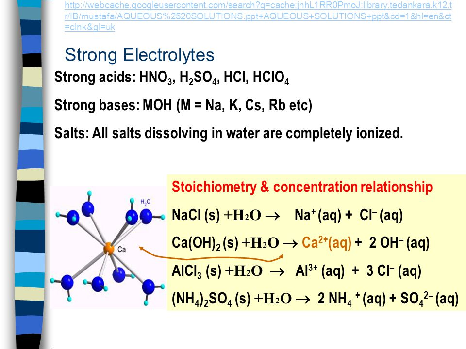 Strong acids: HNO3, H2SO4, HCl, HClO4