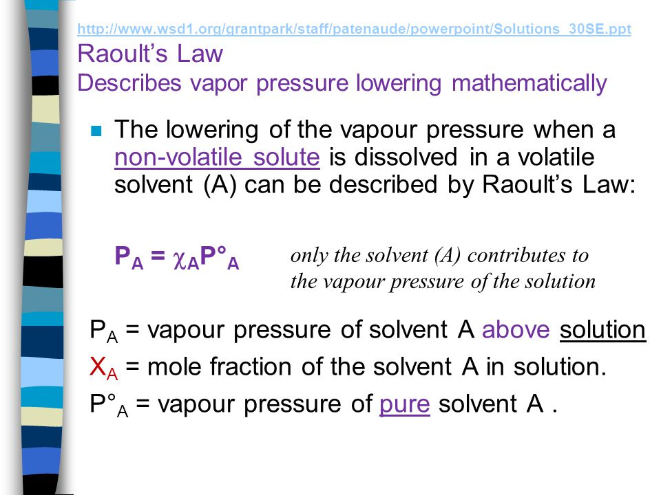 PA = vapour pressure of solvent A above solution