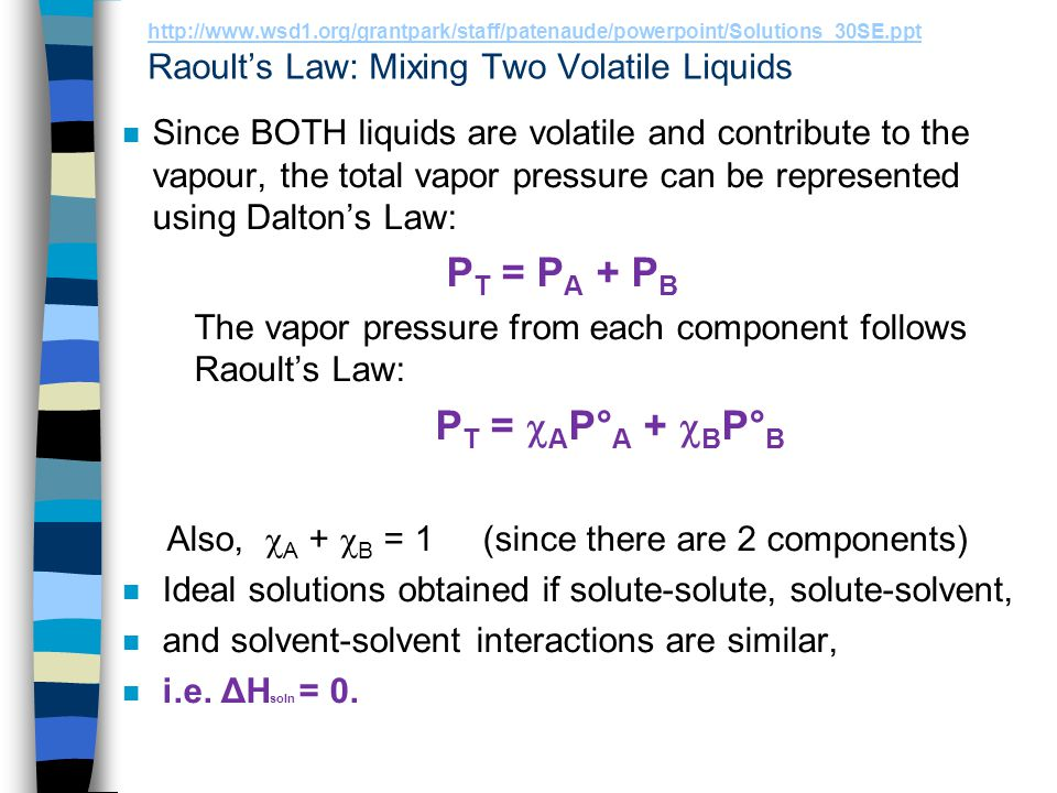 http://www.wsd1.org/grantpark/staff/patenaude/powerpoint/Solutions_30SE.ppt Raoult's Law: Mixing Two Volatile Liquids
