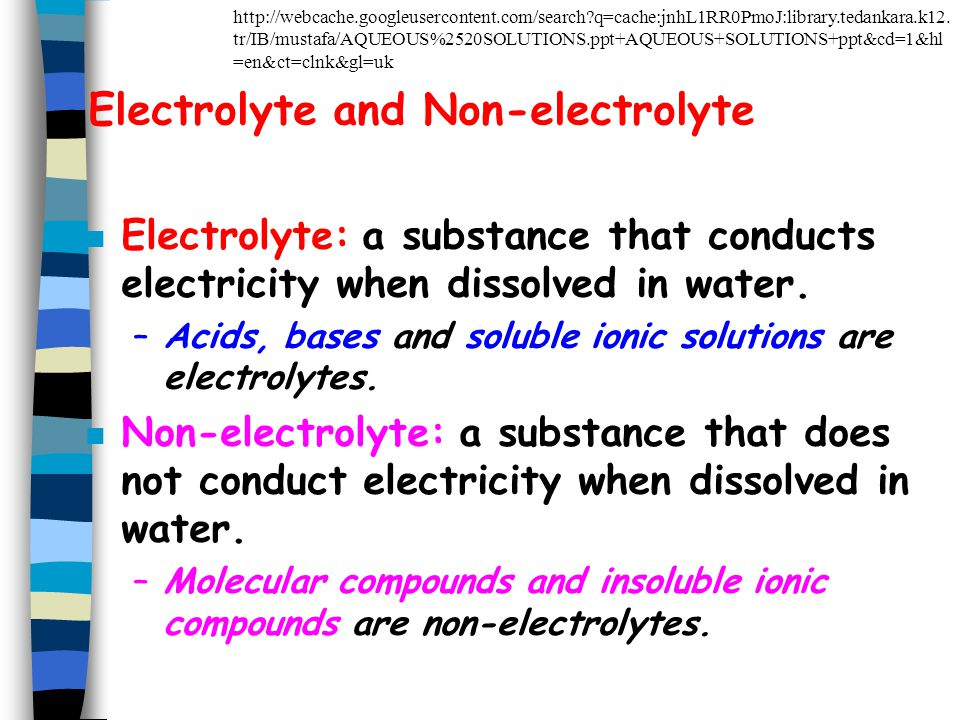 Electrolyte and Non-electrolyte