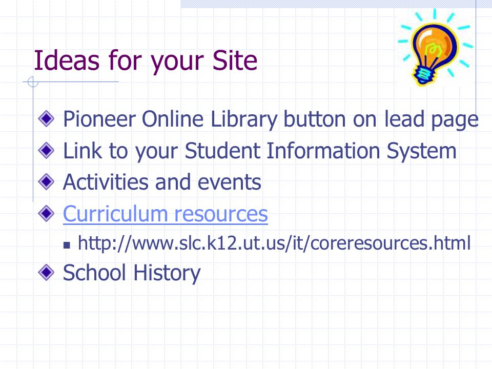 Ideas for your Site Pioneer Online Library button on lead page