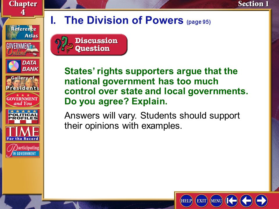 I. The Division of Powers (page 95)