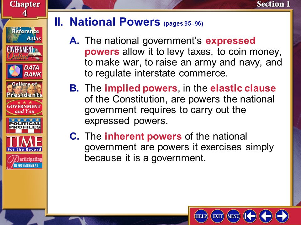 II. National Powers (pages 95–96)