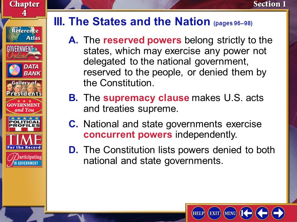 III. The States and the Nation (pages 96–98)