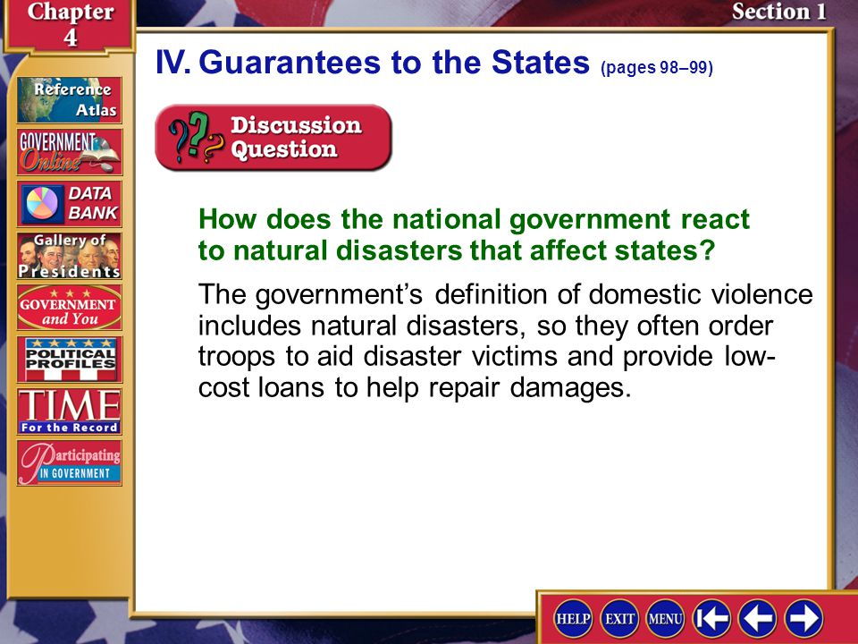 IV. Guarantees to the States (pages 98–99)