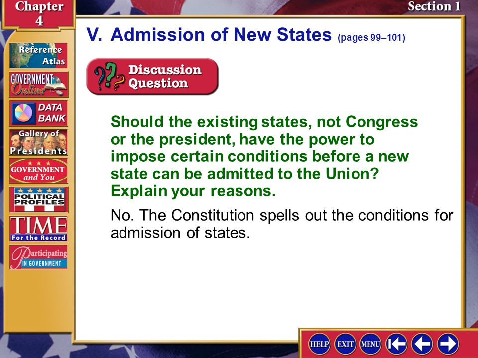 V. Admission of New States (pages 99–101)