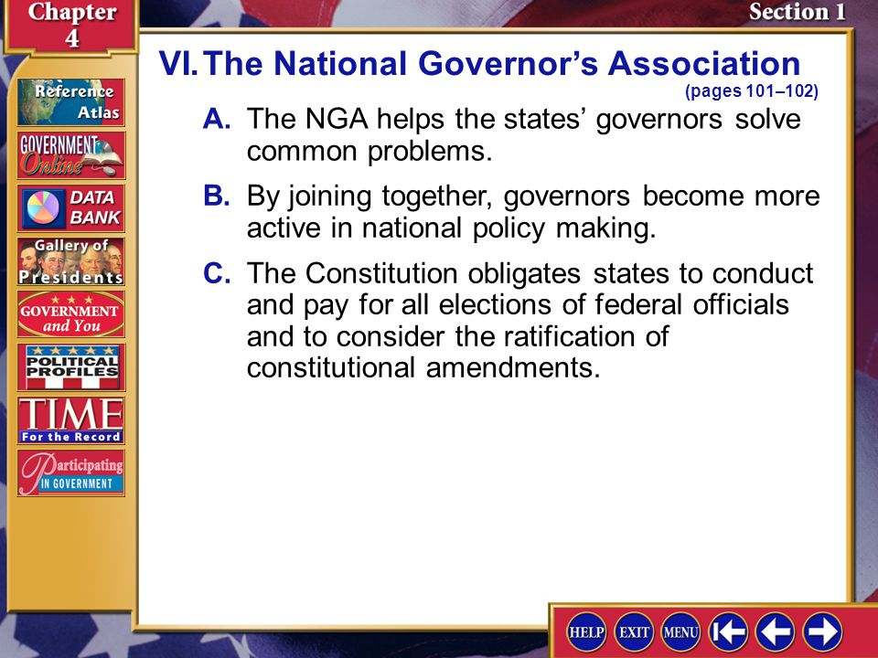 VI. The National Governor's Association (pages 101–102)
