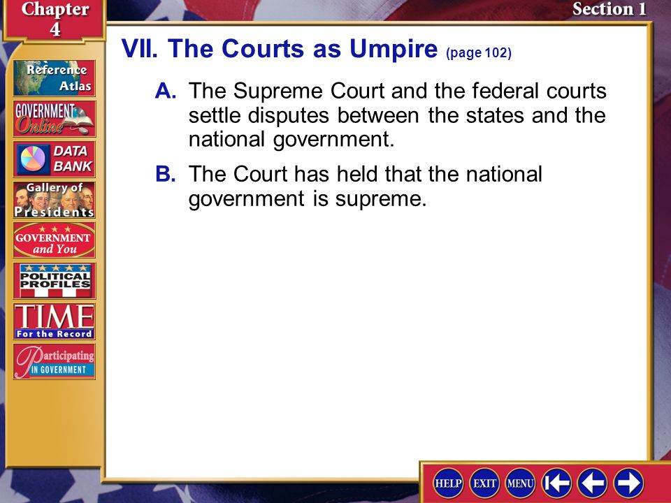 VII. The Courts as Umpire (page 102)
