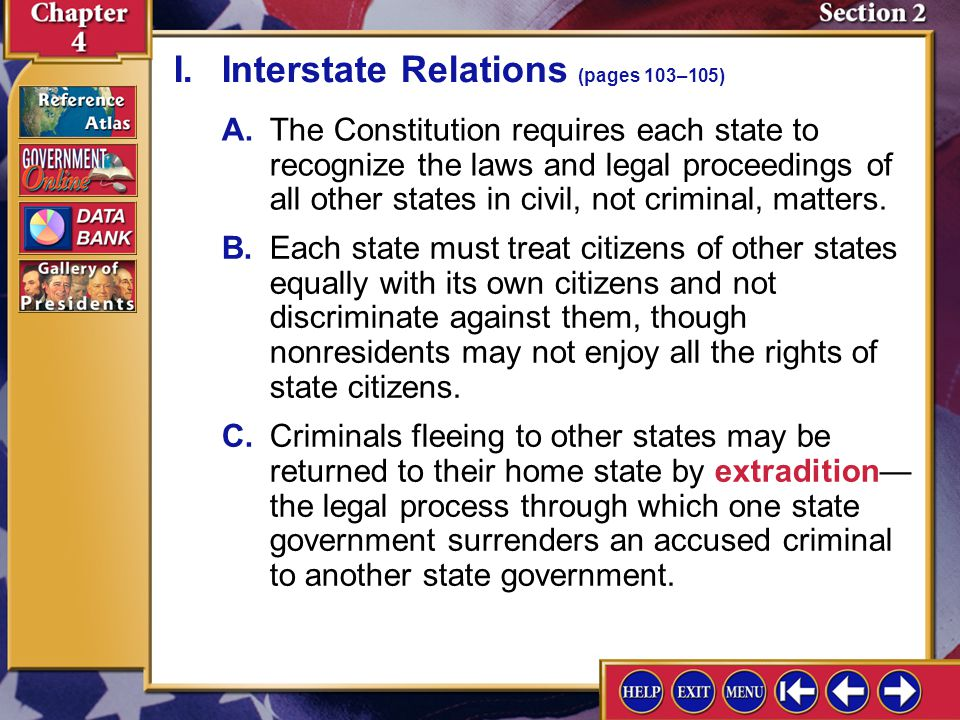 I. Interstate Relations (pages 103–105)