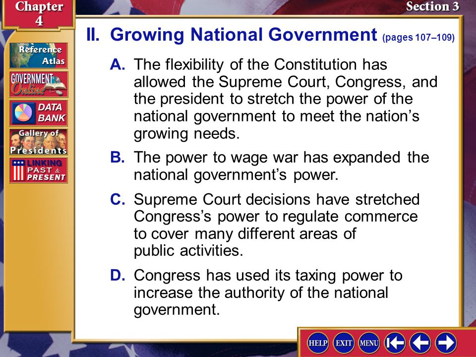II. Growing National Government (pages 107–109)