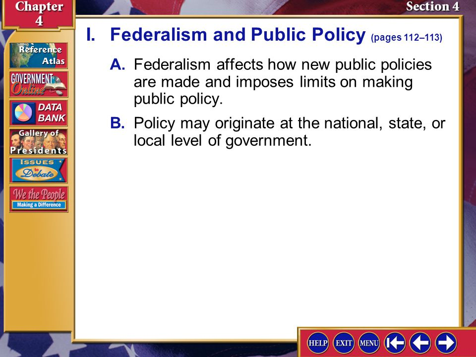 I. Federalism and Public Policy (pages 112–113)