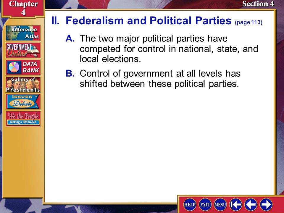 II. Federalism and Political Parties (page 113)