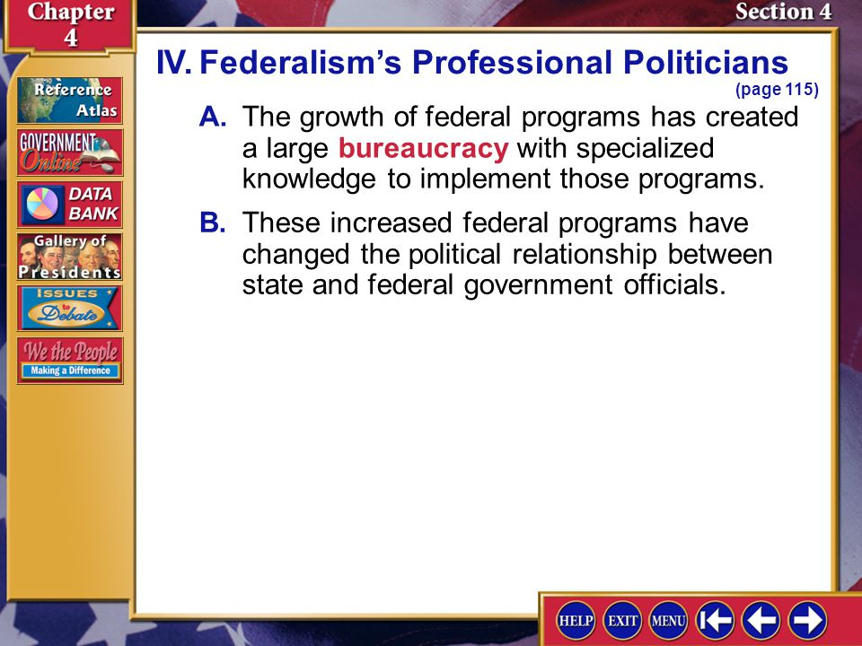 IV. Federalism's Professional Politicians (page 115)