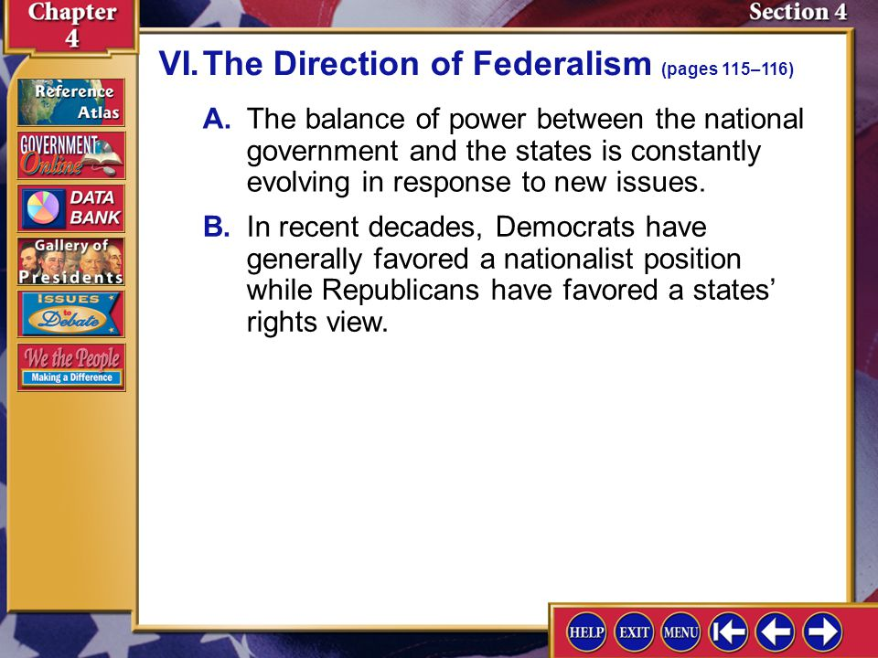 VI. The Direction of Federalism (pages 115–116)