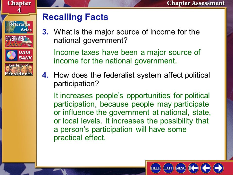 Recalling Facts 3. What is the major source of income for the national government