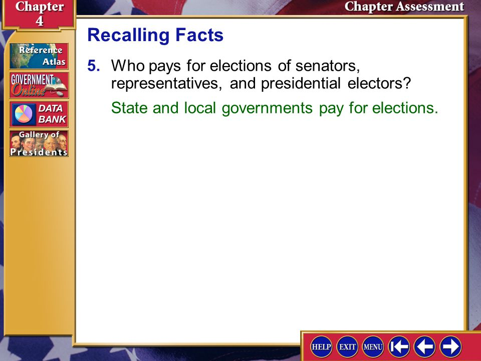 Recalling Facts 5. Who pays for elections of senators, representatives, and presidential electors State and local governments pay for elections.