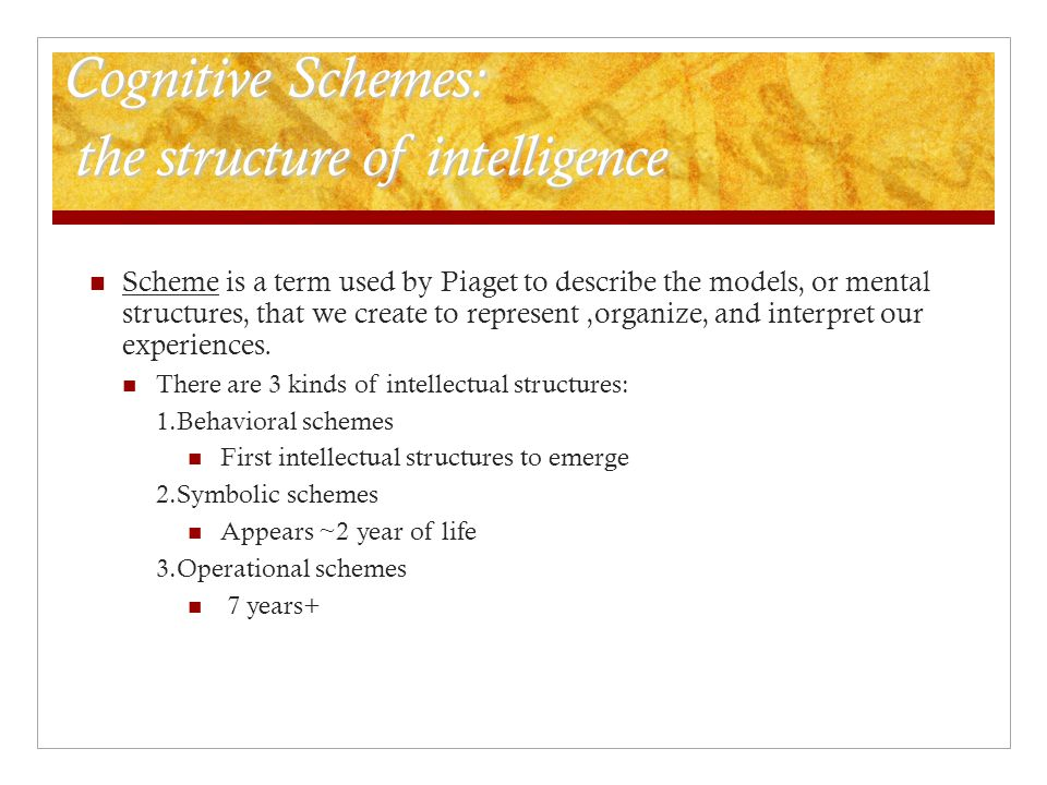 Cognitive Schemes: the structure of intelligence