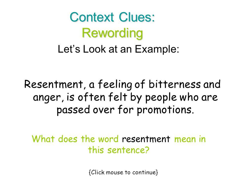 Context Clues: Rewording