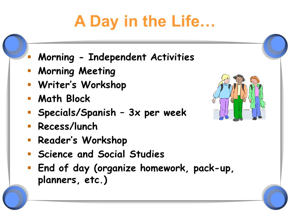 A Day in the Life… Morning - Independent Activities Morning Meeting