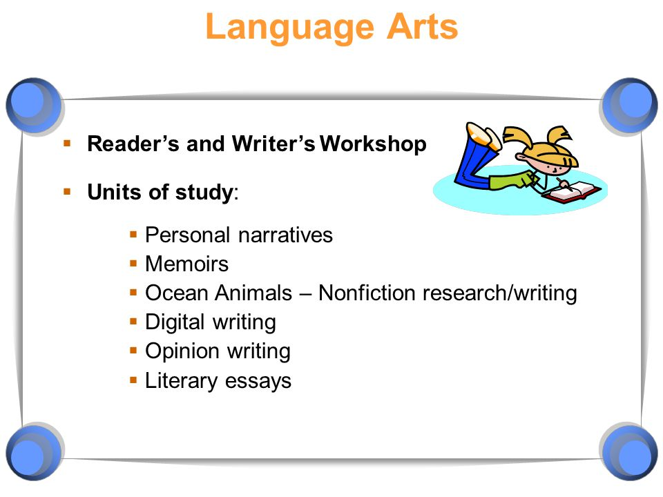 Language Arts Reader's and Writer's Workshop Units of study: