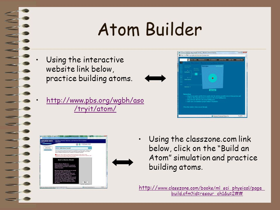Atom Builder Using the interactive website link below, practice building atoms. http://www.pbs.org/wgbh/aso/tryit/atom/