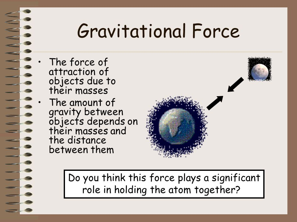 Gravitational Force The force of attraction of objects due to their masses.