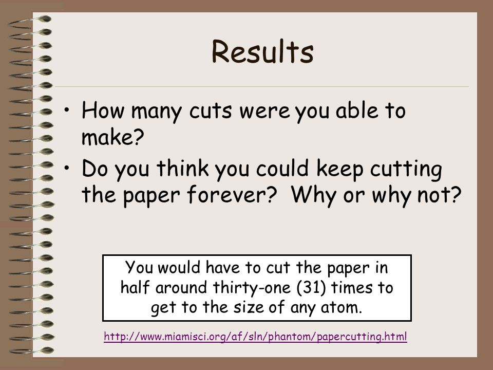 Results How many cuts were you able to make