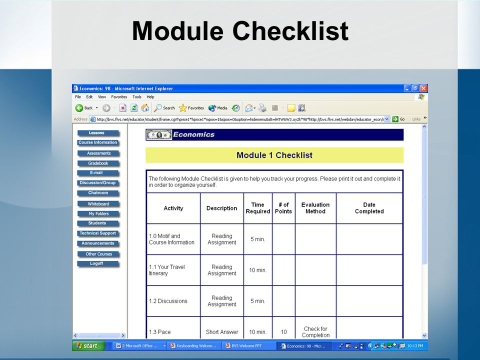 Module Checklist In each Module, you will find a Checklist