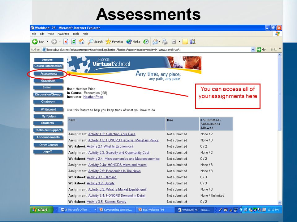 You can access all of your assignments here
