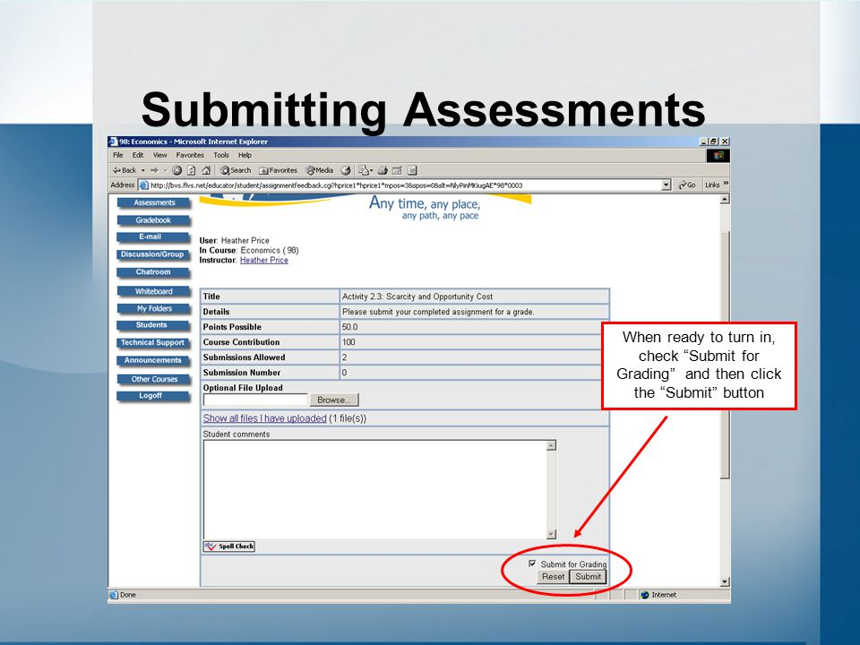 Submitting Assessments