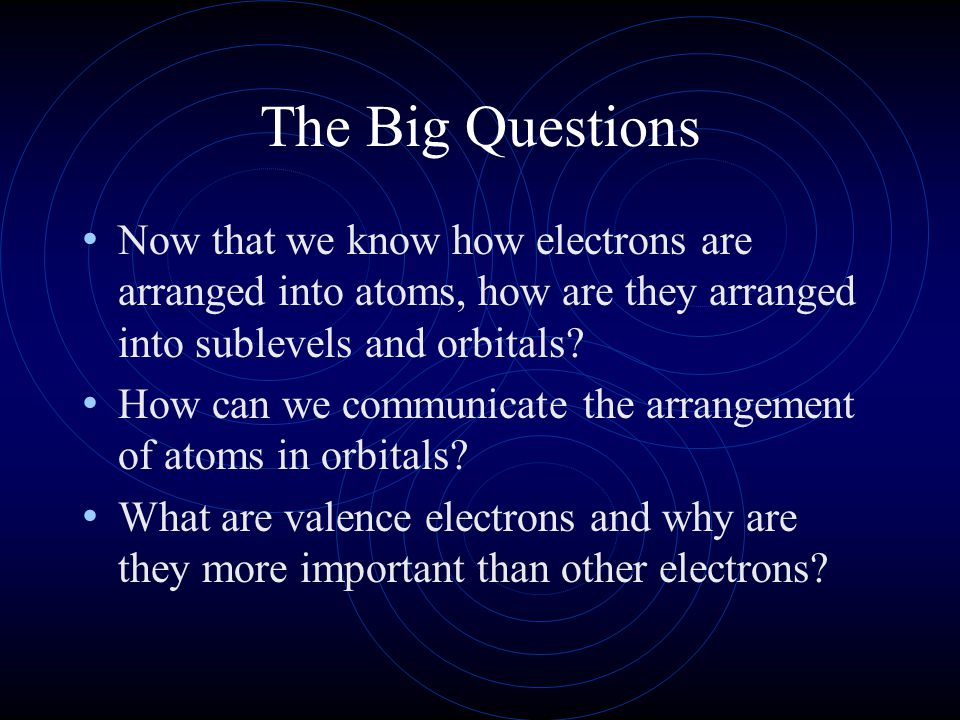 The Big Questions Now that we know how electrons are arranged into atoms, how are they arranged into sublevels and orbitals