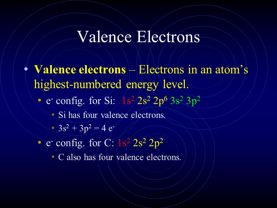 Valence Electrons Valence electrons – Electrons in an atom's highest-numbered energy level. e- config. for Si: 1s2 2s2 2p6 3s2 3p2.